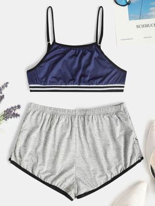 WOMEN Striped Hem Short Pajama Set - Deep Blue L