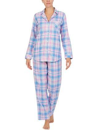 WOMEN LAUREN Ralph Lauren - Petite Classic Woven Long Sleeve Notch Collar Long Pajama Set
