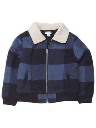 KIDS Splendid Littles - Slate Checkered Sherpa Jacket (Toddler/Little Kids/Big Kids)