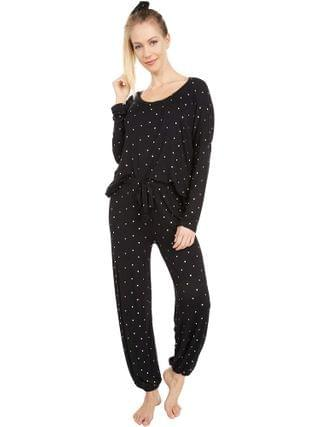 WOMEN Plush - Ultra Soft Heart Jersey Pajama + Scrunchie Set