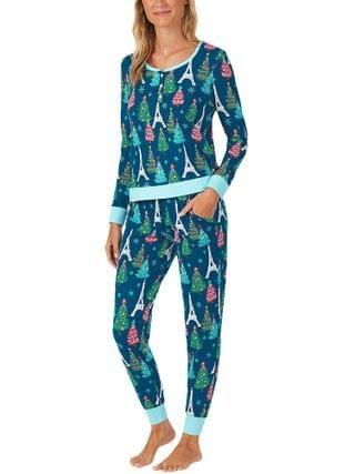 WOMEN BedHead Pajamas - Parisienne Holiday Henley Joggers