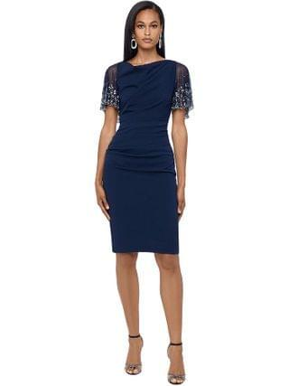 WOMEN Betsy & Adam - Short Ruched Crepe w/ Beaded Flutter Sleeve