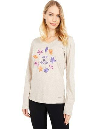 WOMEN Life is Good - Fall Colors Long Sleeve Crusher Vee