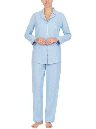 WOMEN LAUREN Ralph Lauren - Classic Woven Long Sleeve Notch Collar Long Pajama Set