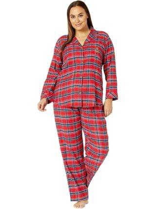 WOMEN LAUREN Ralph Lauren - Plus Brushed Twill Long Sleeve Notch Collar Long Pants Pajama Set