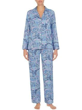 WOMEN LAUREN Ralph Lauren - Sateen Long Sleeve Notch Collar Long Pajama Set