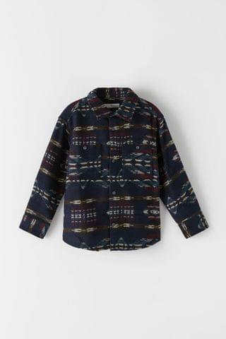 KIDS JACQUARD NAVY OVERSHIRT