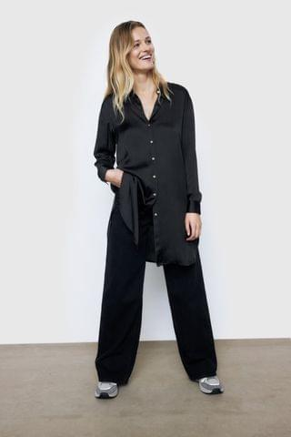 WOMEN LONG SATEEN SHIRT