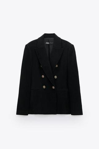 WOMEN DOUBLE-BREASTED VELVET JACKET