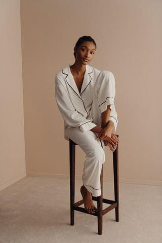 WOMEN PAJAMA SHIRT WITH CONTRASTING PIPING