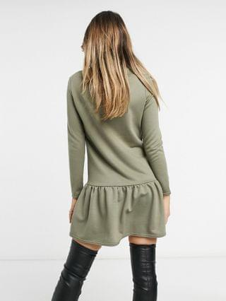 WOMEN New Look drop hem sweatshirt dress in khaki