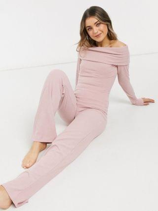 WOMEN Lipsy loungewear ribbed wide leg pants in pink