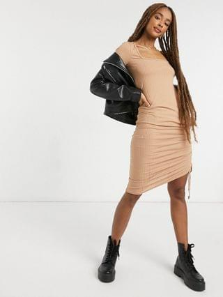 WOMEN New Look square neck ruched midi dress in camel