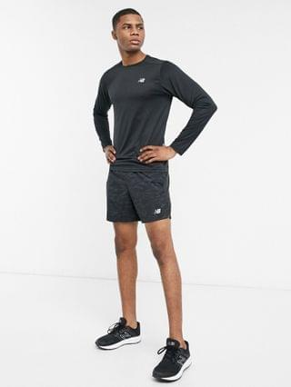 New Balance Running accelerate logo long sleeve top in black