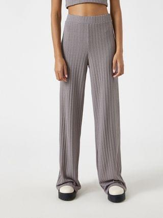 WOMEN Pull&Bear ribbed cardigan and trouser co-ord in grey