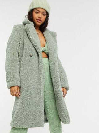 WOMEN New Look long line teddy coat in light green