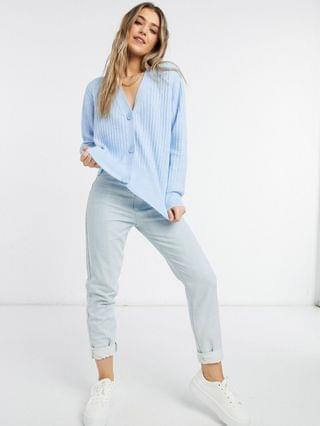 WOMEN New Look ribbed button down cardigan in blue