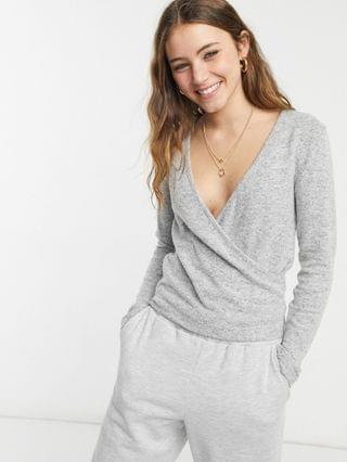 WOMEN Lipsy loungewear long sleeve wrap detail top in gray