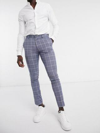 New look skinny check jacket and trouser in blue