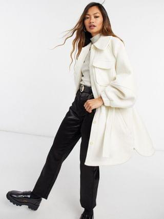 WOMEN & Other Stories balloon sleeve wool coat in light gray