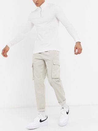 New Look corduroy cargo pants with elasticized waist in stone