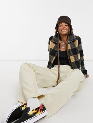 WOMEN Noisy May teddy jacket in mustard and black check