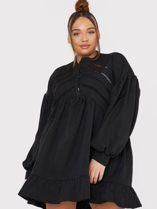 WOMEN In The Style Plus x Lorna Luxe volume sleeve button front mini smock dress in black