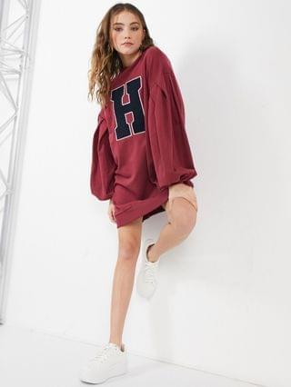 WOMEN oversized balloon sleeve sweat mini dress with letter graphic in burgundy and navy
