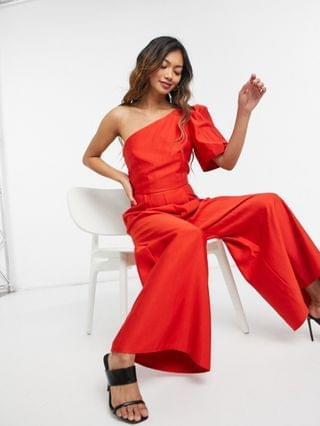 WOMEN structured one shoulder jumpsuit in red