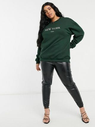 WOMEN In The Style Plus x Lorna Luxe exclusive New York oversized sweatshirt in emerald green