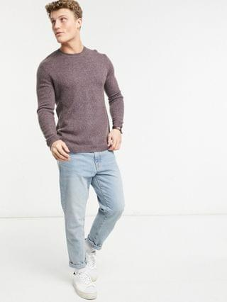 knitted crewneck sweater in soft camel yarn