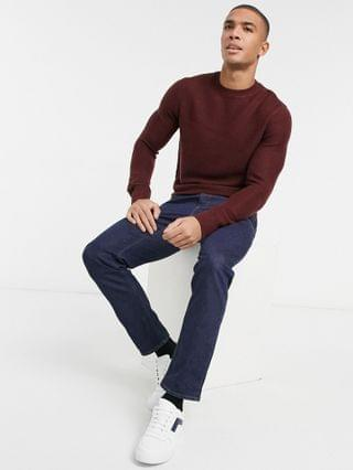New Look pearl stitch knitted sweater in burgundy