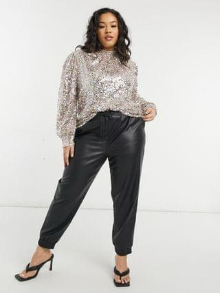 WOMEN Chi Chi London Plus high neck sequin top in silver