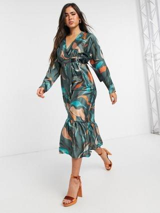 WOMEN satin tiered wrap maxi dress in winter abstract print