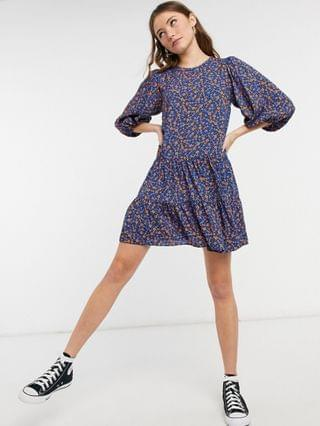 WOMEN New Look double tier smock mini dress in blue floral