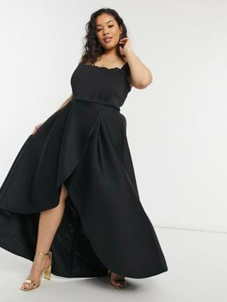 WOMEN True Violet Plus exclusive prom midi high low with corset detail in black
