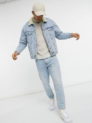 Pull&Bear trucker jacket with sherpa collar in light wash blue