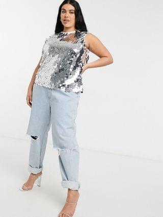 WOMEN Never Fully Dressed Plus high neck sequin disc top in silver