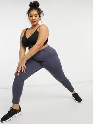 WOMEN In The Style Plus x Courtney Black activewear paneled legging co-ord in charcoal
