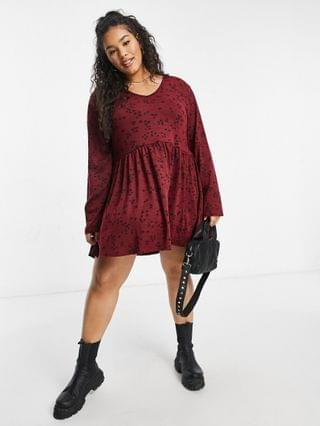 WOMEN Yours mini smock dress in burgundy print