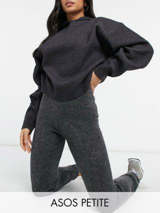 WOMEN Petite crop jumper with collar and joggers co-ord in charcoal