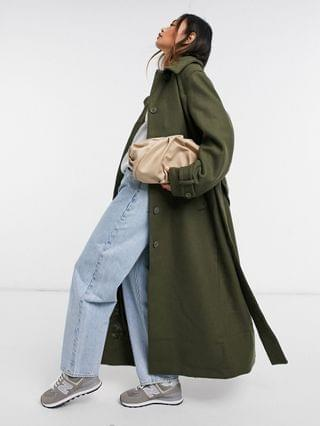 WOMEN Weekday Ricky recycled wool belted coat in khaki