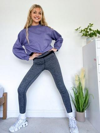 WOMEN In The Style x Courtney Black activewear cropped sweatshirt co ord in charcoal