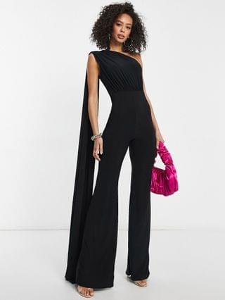 WOMEN Club L London Tall one shoulder drape detail jumpsuit in black