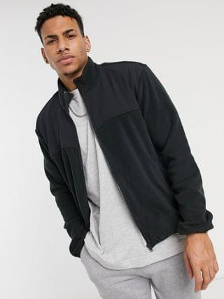 New Look fleece tracksuit jacket in black