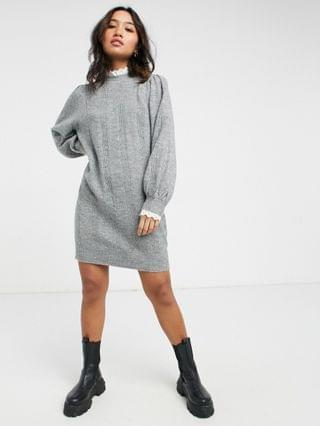 WOMEN Petite knitted dress with lace detail in gray