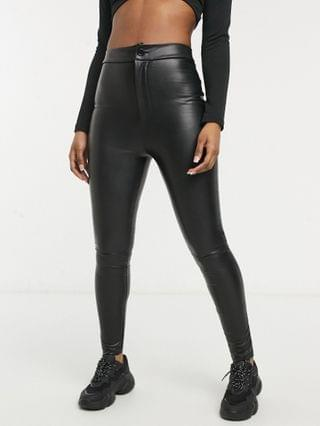 WOMEN super tight sculpting high waist leather look skinny pants