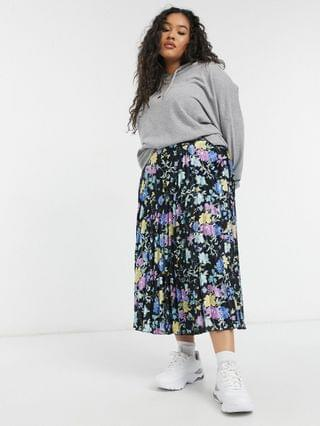 WOMEN Glamorous Curve pleated midi skirt in winter floral