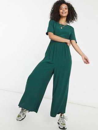WOMEN tall button back jumpsuit in forest green