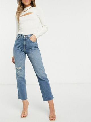 WOMEN high rise stretch 'effortless' crop kick flare jeans in dirty midwash with thigh rip